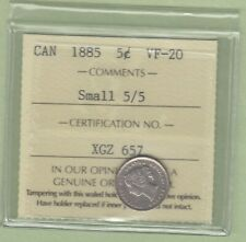 1885 Canadian 5 Cents Silver Coin - Small 5/5 - ICCS Graded VF-20