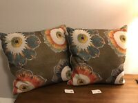 NEW $187 Botanical x2 multicolor Floral natural linen Decorative Throw Pillows