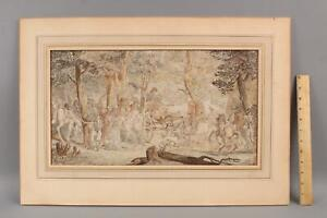 Large Authentic Detailed 18thC French Watercolor Painting Fete Celebration Party