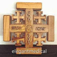 JESUS CHRIST Olive Wood Wooden Decor wall Jerusalem cross Crucifix Religion Gift