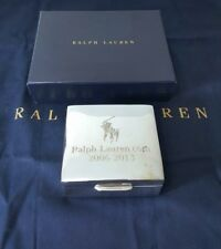 $125 RALPH LAUREN BREWSTER SILVER SQUARE BOX WITH TEAKWOOD INTERIOR