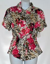 Onque Casuals Ladies Bling Sequin Floral Short Sleeve Tunic Blouse Top S NWT