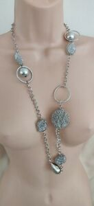 "Silver Metal Twisted Ball & Link Long Line NECKLACE Approx 36"" Long"