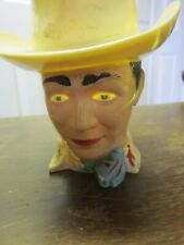 """Vintage Figural Hard Plastic F & F Die Roy Rogers Cowboy Character Cup 4"""" Tall"""