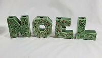 4 Vintage MCM Lipper Mann Ceramic NOEL Christmas Letters- Candle Holders- Japan