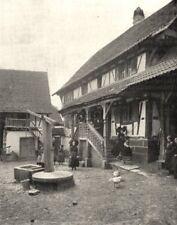 BAS- RHIN. Cour de Ferme, a Buswiller 1900 old antique vintage print picture