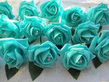 20 Tiffany Blue Diamante Rose Buttonholes Wedding Flowers Artifical