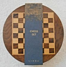 Linea Polished Wood Travelling Chess Board & Pieces