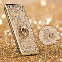 For iPhone Xs Max X 8 Samsung Bling 3D Diamond Flower TPU Case Ring Holder Cover