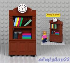LEGO - Bookshelf Bookcase Brown w/ Books Furniture Cabinet Minifigure City Town