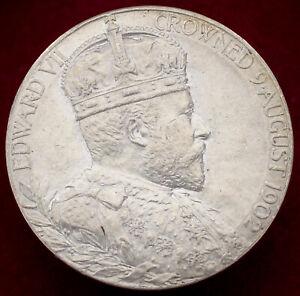 GB Royal Mint Silver King Edward VII Coronation Medal 1902 - 31mm (H2708)