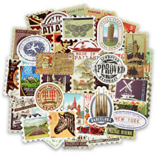 50PCS Retro Stamp Sticker Travel Historical Building Postmark Postage Sticker