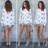 Estate Ladies Manica Lunga di Chiffon Camicie Floreale Casual T-Shirt Larga