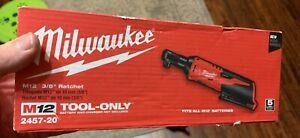 "New Milwaukee 2457-20 M12 12V 3/8"" Drive Cordless Ratchet - Tool Only - NIB"