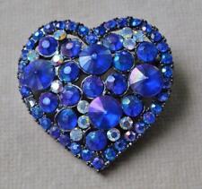 Vintage Signed LA BELLE Silvertone Blue Rhinestones HEART Shape Pin Brooch