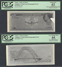 Ghana Face & Back 5 Dollars 1-7-1962  Pick Unlisted Photographic Proof UNC