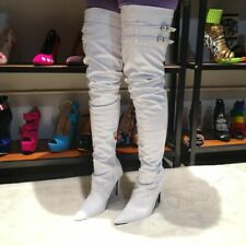 Large Size 35-47 Womens Pointy Toe Over Knee Thigh High Boots Show High Stiletto