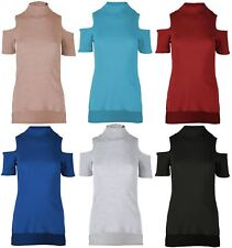 New Womens Turtle Neck Cold Cut Out Shoulder Thermal Wear Jumper Top 8-14