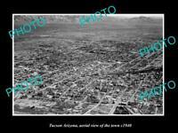 OLD POSTCARD SIZE PHOTO TUCSON ARIZONA, AERIAL VIEW OF THE TOWN c1940