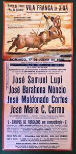 Portuguese Bull Fight , Small Poster, Lisbon, Vila Franca de Xira, 17 July 1960