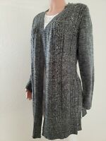 KAREN SCOTT CARDIGAN Women Sweater NEW Size L OPEN-FRONT DUSTER  PEPPER MARL E2