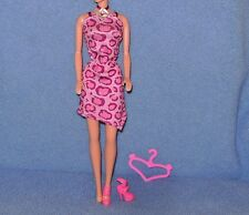 Barbie Doll Clothes Adorable Pink Cheetah Print Dress.Shoes, Hanger (B73)