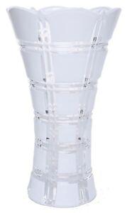 24cm Tall Wide Mouth White Glass Flower Vase Flared Design Vase