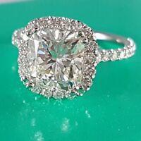 1.90 Ct Cushion U-Pave Diamond Ring Halo Engagement Ring GIA G,VS1 18K Natural