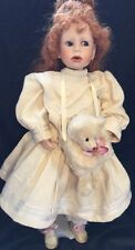 "22"" porcelain girl w white bear muff No Marks"