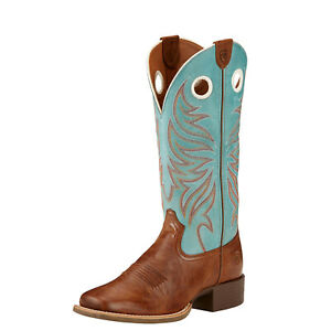 ARIAT Women's Round Up Ryder Western Boot 10017394, Wood/Sky Blue, Size 9.5B