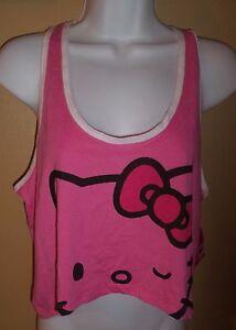 Sz L Hello Kitty PJ or Tank Top Juniors nwt Pink Racerback