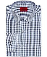 $55 ALFANI Men's FITTED PERFORMANCE WHITE BLUE CHECK DRESS SHIRT 15.5 32/33 M