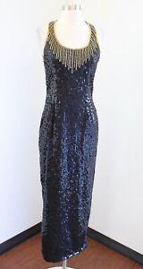Vtg Laurence Kazar Black Gold Sequin Beaded Cutout Back Party Evening Dress S M