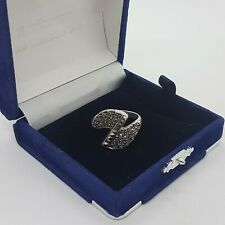 STERLING SILVER 925 Ring UK Size T.5 , US 10 Art Deco Twist Marcasite Stones