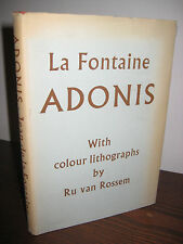 1st/1st Printing thus ADONIS La Fontaine LITHOGRAPHS Ru Van Rossem RARE Classic