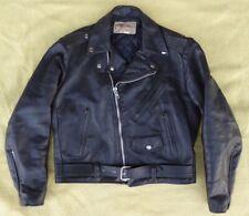 Mens EXCELLED vintage BLACK heavy LEATHER Motorcycle Biker JACKET med M USA Made