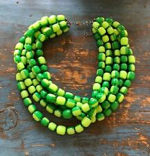 Lime and Emerald Green Beaded Vintage Lucite Multi Strand Statement Necklace