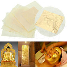 2X 24K Pure Gold Edible Real Gold Leaf Sheet Gilding Craft Mask SPA 4.33X4.33cm