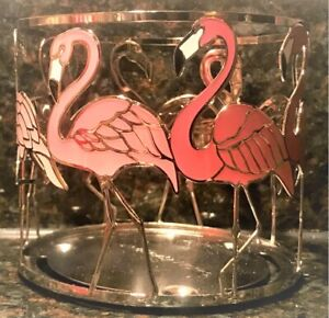 Bath & Body Works Pink Silver Tropical FLAMINGOS 3-Wick Jar Candle Holder Sleeve