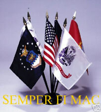 4X6 DESK FLAG SET USA US MARINES NAVY ARMY AIR FORCE COAST GUARD BATTLE COLORS