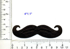 Iron On Patch Embroidered Applique Black Handlebar Mustache Retro
