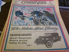 THE CITIZENS VOICE  - 7/4/86 - GREAT AMERICAN RACERS ARRIVE -  COMPL - NEAR MINT