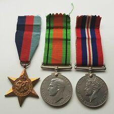 More details for set of x3 ww2 medals (1939-45 star, defence & war medals) c/w original ribbons