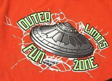 Retro Orange Outer Limits Fun Zone UFO Craft Video Arcade Nerd T Shirt M