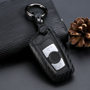 Carbon Fiber Silicone Smart Key Chain Cover Case Fob For BMW 1 3 4 5 6 7 Series