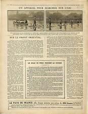 ARTICLE Appareil Marcher sur l'Eau Hydro-Sky Bois de Boulogne Paris 1916 WWI