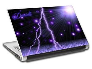 Purple Lightning Personalized LAPTOP Skin Vinyl Decal Sticker WITH YOUR NAME L42