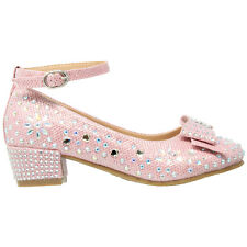 Kids Dress Shoes Flower Girls Glitter Rhinestone Heel Bow Accent Mary Jane Pumps