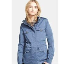 NEW $850 Burberry Women Marshdale Stretch Blue Jacket Parka, Size US 6 / EU 40