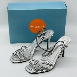 Karen Millen Silver Leather Strappy High Heel Sandals 7 40 shoes with box